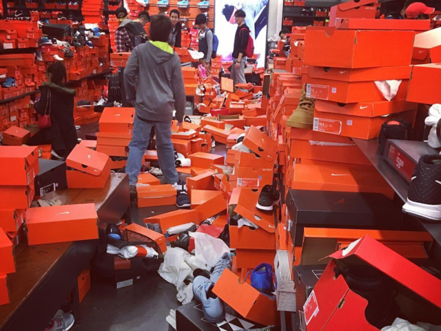 'Total disaster!' Nike Factory store trashed by Black Friday shoppers