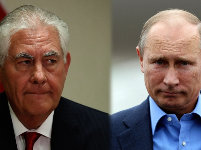 Putin meets Tillerson as United States, Russia fiercely feud over Syria